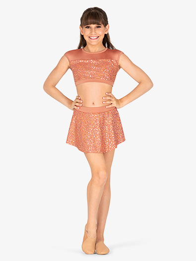Girls Performance Sequin Pull-On Skirt - Style No BW4022