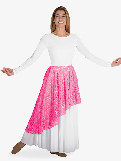Womens Plus Asymmetrical Lace Worship Skirt - Style No BW627XX