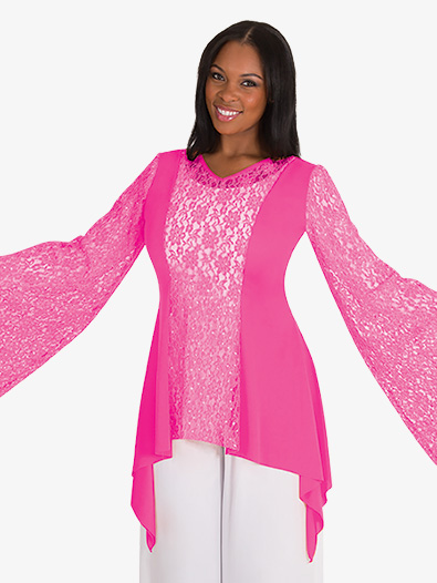 Womens Drapey Lace Panel Worship Tunic - Style No BW629