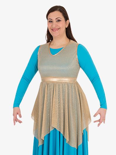 Womens Plus Metallic Micro Pleated Worship Tunic - Style No BW682XX