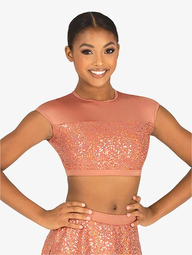 Womens Performance Sequin Cap Sleeve Crop Top - Style No BW8020x