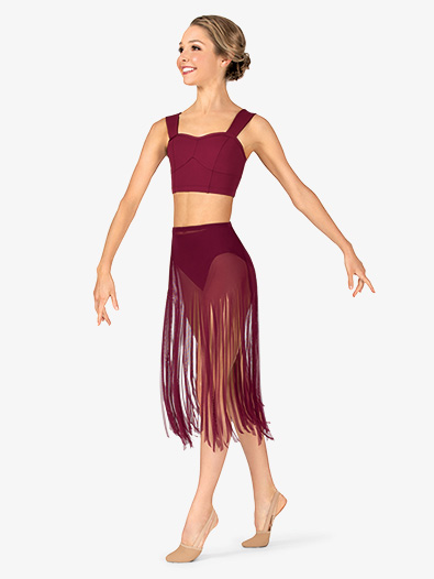 Womens Performance Sheer Mesh Fringe Skirt - Style No BW9811