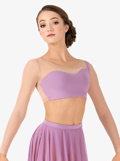 Adult Asymmetrical Long Sleeve Dance Crop Top - Style No BWP9029x