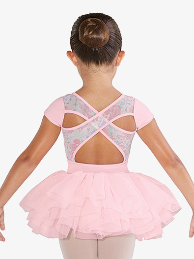 Girls Floral Printed Mesh Short Sleeve Ballet Tutu Dress - Style No CL4842