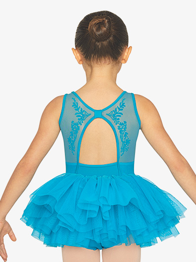 Girls Flock Mesh Back Cutout Tank Ballet Tutu Dress - Style No CL5555