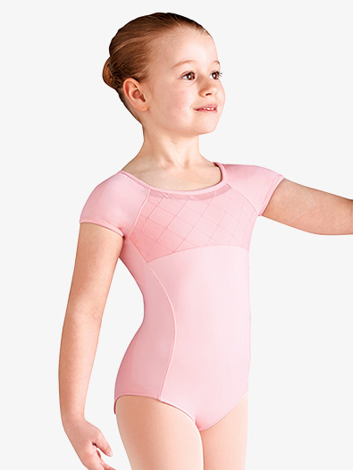 Girls Diamond Heart Mesh Short Sleeve Leotard - Style No CL9932x