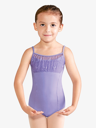 Girls Bow Mesh Knot Back Keyhole Camisole Leotard - Style No CL9957x