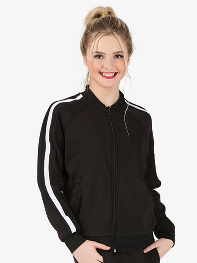 Womens Team Zip Up Long Sleeve Striped Jacket - Style No D3046