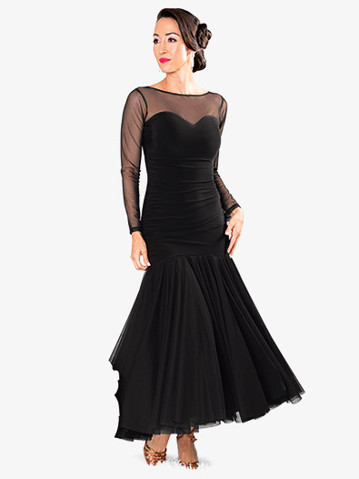 Womens Mesh Sweetheart Long Ballroom Dance Dress - Style No D906
