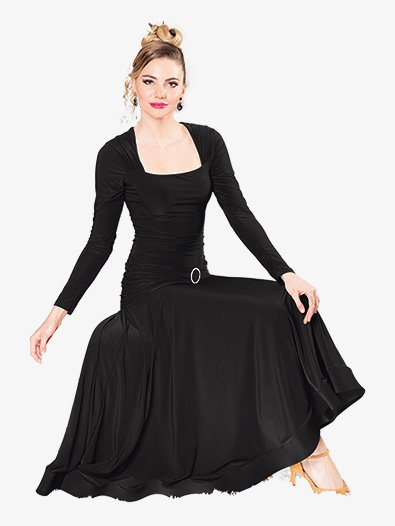 Womens Square Neck Long Ballroom Dance Dress - Style No D908