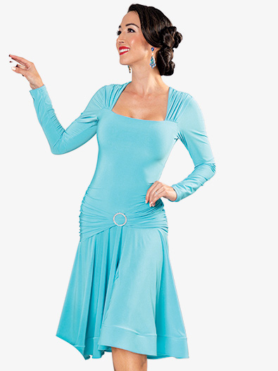 Womens Square Neck Short Ballroom Dance Dress - Style No D909