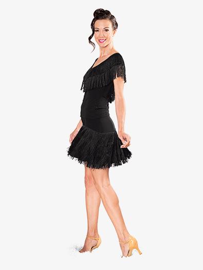 Womens Fringe V-Front Short Sleeve Ballroom Dance Top - Style No DAT922