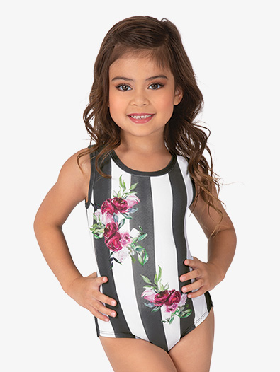 Girls Floral Stripe Sublimated Print Tank Leotard - Style No DB237C
