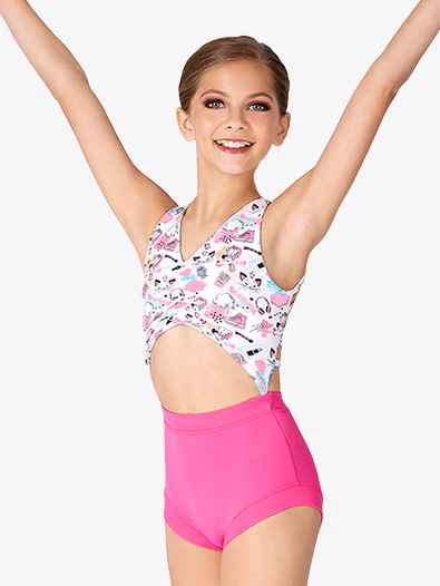 Girls Cat & Unicorn Print Strappy Back Tank Leotard - Style No DB238C