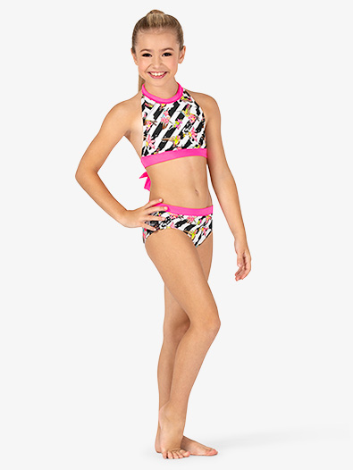 Girls Floral Stripe Dance Briefs - Style No DB302Cx