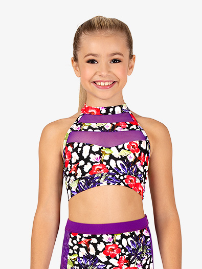 Girls Leopard Floral Dance Bra Top - Style No DB306Cx