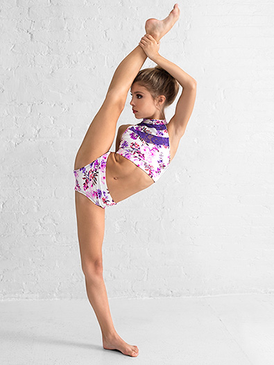 Girls Purple Floral Dance Briefs - Style No DB316C