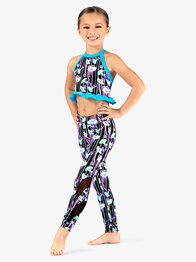 Girls Neon Floral Print Dance Leggings - Style No DB320C