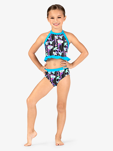 Girls Neon Floral Print Dance Briefs - Style No DB323C