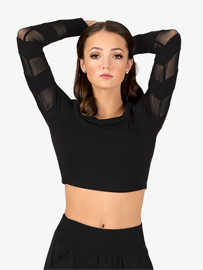 Womens Mesh Stripe Long Sleeve Dance Crop Top - Style No DS5132