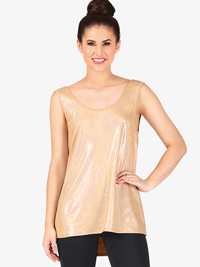 Womens Metallic Cowl Back Dance Tank Top - Style No DS5134