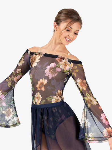 Womens Performance Floral Mesh Long Sleeve Bodysuit - Style No DSJ1200