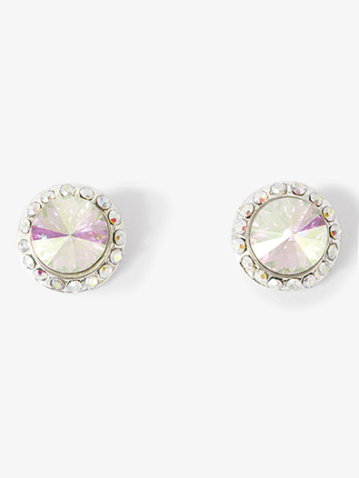 10mm Clip On Iridescent Stone Earrings - Style No EC8AI