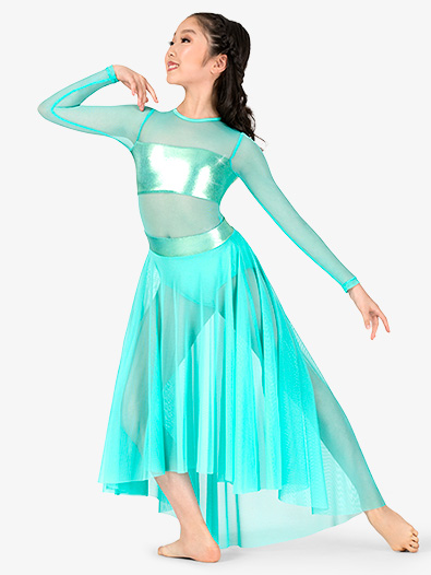 Girls Long Sleeve Metallic Mesh High-Low Lyrical Dress - Style No EL116C