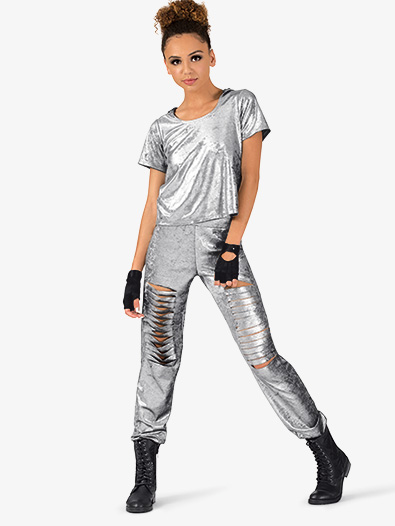 Womens Metallic Foil 2-Piece Hip Hop Set - Style No EL131