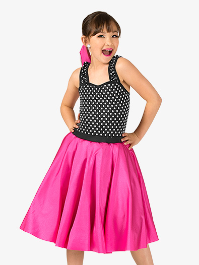 Girls Vintage Polka Dot Tank Dance Costume Dress - Style No EL135C