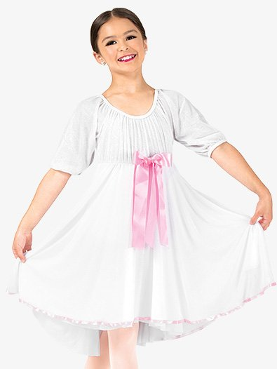 Girls Short Sleeve Ribbon Dress - Style No EL138C