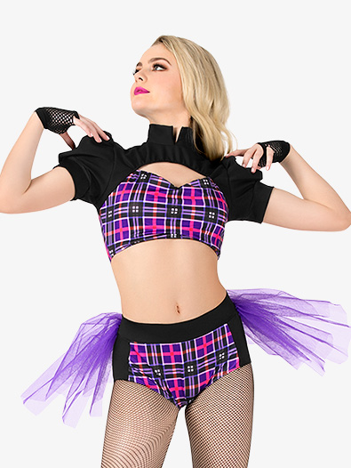 Womens 2-Piece Plaid Dance Costume Set - Style No EL161