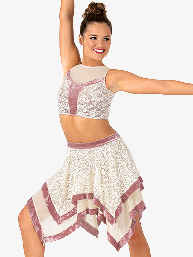 Womens 2-Piece Lace & Velvet Dance Costume Set - Style No EL166