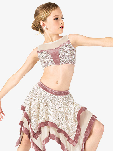 Girls 2-Piece Lace & Velvet Dance Costume Set - Style No EL166C