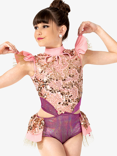 Girls Performance Flutter Sleeve Sequin Leotard - Style No EL167C
