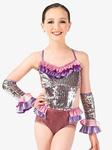 Girls Performance Metallic Ruffle Camisole Leotard - Style No EL169C