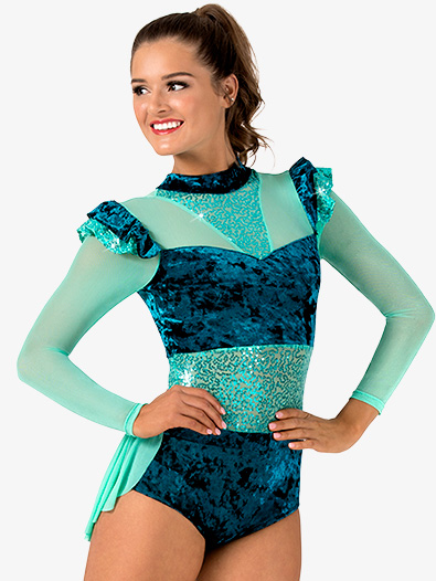 Womens Performance Sequin & Velvet Bustled Leotard - Style No EL246