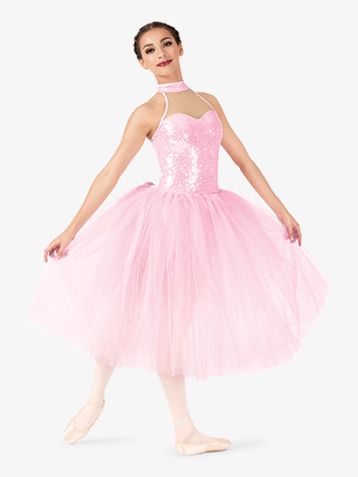Womens Performance Sequin Halter Romantic Tutu Dress - Style No EL253