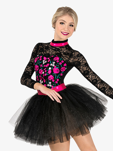 Womens Performance Flower Embroidery Tutu Dress - Style No EL256