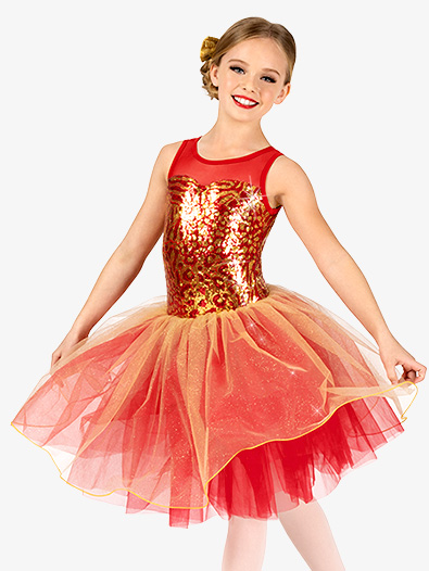 Girls Performance Leopard Sequin Tank Tutu Dress - Style No EL258C