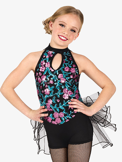 Girls Performance Floral Sequin Shorty Unitard - Style No EL260C