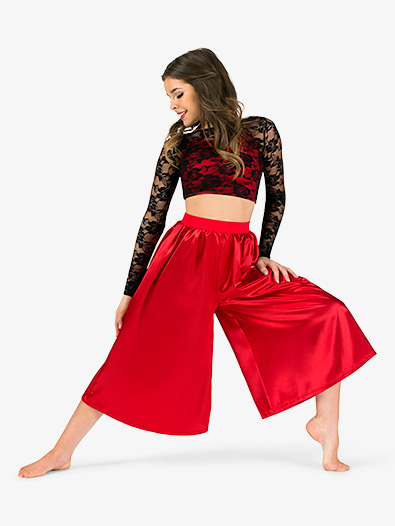 Womens Lace & Satin 2-Piece Dance Costume Set - Style No EL264
