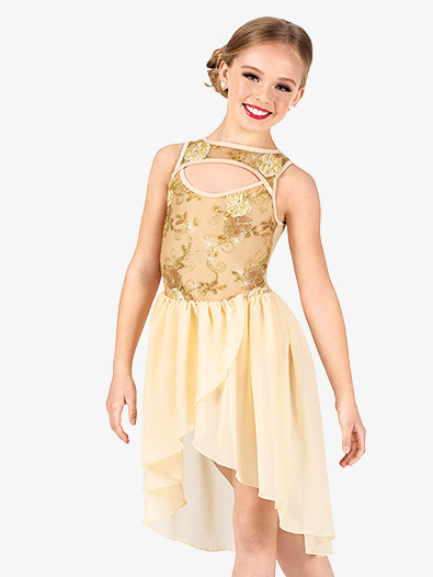 Girls Performance Floral Mesh Asymmetrical Dress - Style No EL275C