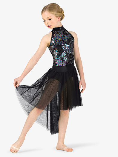 Girls Performance Iridescent Sequin Halter Dress - Style No EL277C