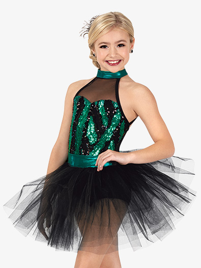 Girls Performance Feather Sequin Tutu Dress - Style No EL281C