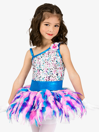 Girls Performance Asymmetrical Feather Tutu Dress - Style No EL282C