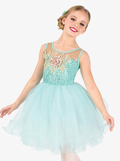 Girls Performance Floral Mesh Tank Tutu Dress - Style No EL285C
