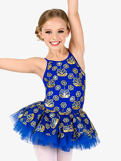 Girls Performance Floral Sequin Camisole Tutu Dress - Style No EL289C