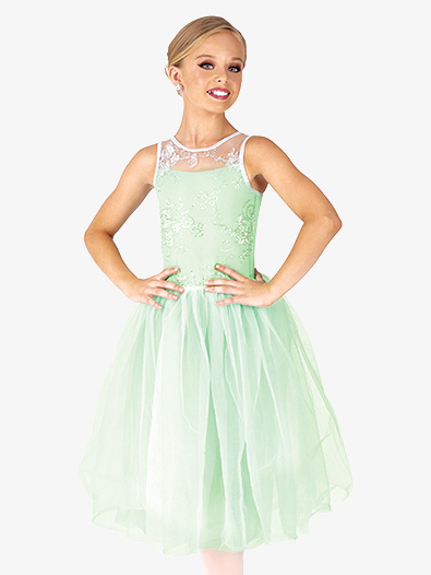 Girls Performance Floral Mesh Overlay Tutu Dress - Style No EL290C