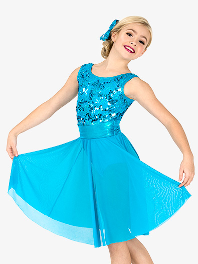 Girls Performance Sequin Long Tank Dress - Style No EL293C